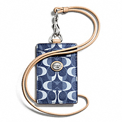 COACH PEYTON DREAM C LANYARD ID - SILVER/DENIM/TAN - F66799