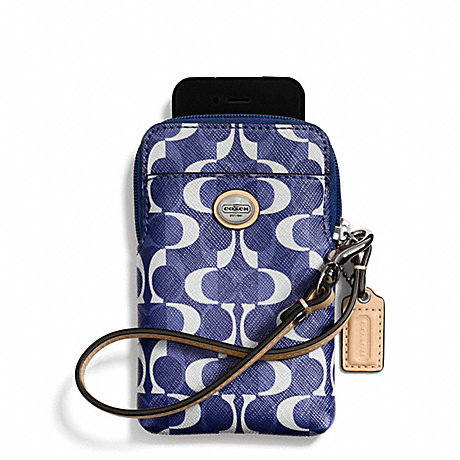 COACH f66803 PEYTON DREAM C UNIVERSAL PHONE CASE SILVER/NAVY/TAN