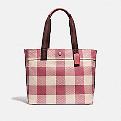 TOTE WITH BUFFALO PLAID PRINT - STRAWBERRY/SILVER - COACH F66867