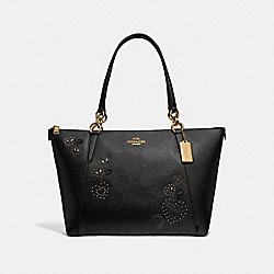 AVA TOTE WITH HEART BANDANA RIVETS - BLACK/MULTI/IMITATION GOLD - COACH F66871