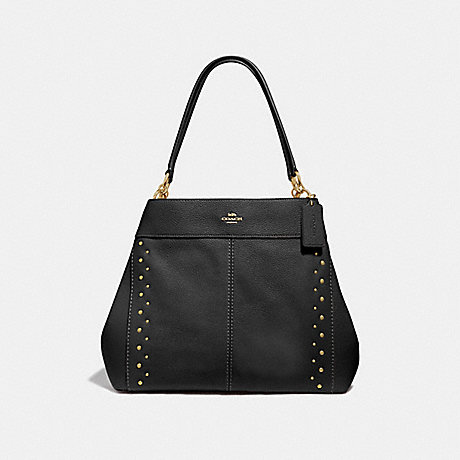 COACH LEXY SHOULDER BAG WITH STUDS - BLACK/IMITATION GOLD - F66874