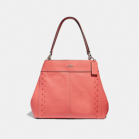 COACH LEXY SHOULDER BAG WITH STUDS - CORAL/SILVER - F66874