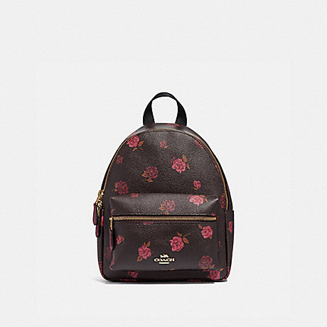 COACH MINI CHARLIE BACKPACK WITH TOSSED PEONY PRINT - OXBLOOD 1 MULTI/IMITATION GOLD - F66879
