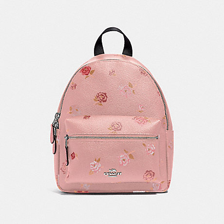 COACH MINI CHARLIE BACKPACK WITH TOSSED PEONY PRINT - PETAL MULTI/SILVER - F66879