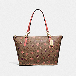 AVA TOTE IN SIGNATURE CANVAS WITH TOSSED PEONY PRINT - KHAKI/PINK MULTI/IMITATION GOLD - COACH F66880