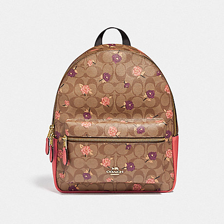 COACH MEDIUM CHARLIE BACKPACK IN SIGNATURE CANVAS WITH TOSSED PEONY PRINT - KHAKI/PINK MULTI/IMITATION GOLD - F66881