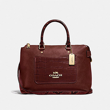 COACH EMMA SATCHEL - WINE/IMITATION GOLD - F66886