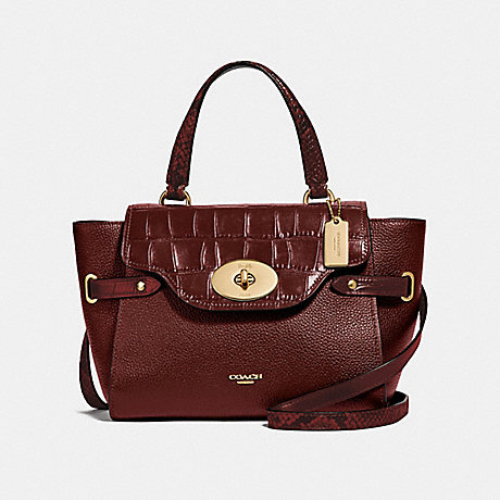 COACH BLAKE FLAP CARRYALL - WINE/IMITATION GOLD - F66887