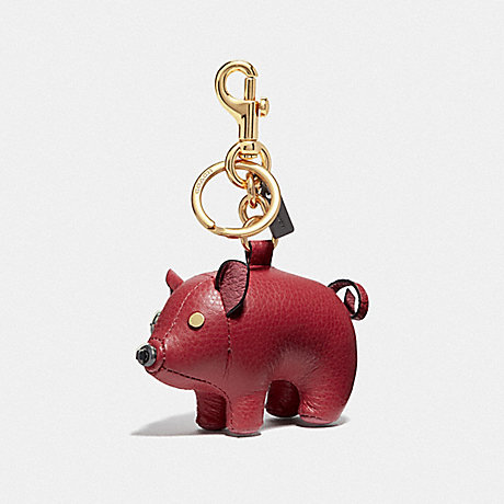 COACH LUNAR NEW YEAR PLUSH PIG BAG CHARM - TRUE RED/GOLD - F66907