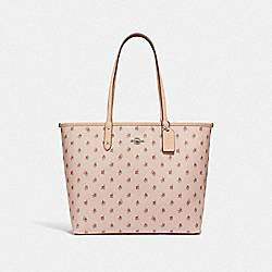 REVERSIBLE CITY TOTE WITH FLORAL DITSY PRINT - LIGHT PINK MULTI/LIGHT PINK/SILVER - COACH F66926