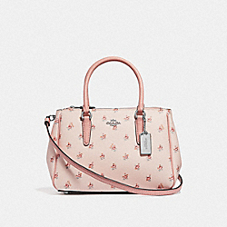 MINI SURREY CARRYALL WITH FLORAL DITSY PRINT - LIGHT PINK MULTI/SILVER - COACH F66928