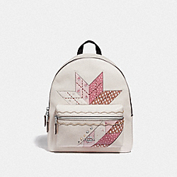 MEDIUM CHARLIE BACKPACK WITH STAR PATCHWORK - CHALK MULTI/SILVER - COACH F66935