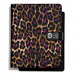 COACH SIGNATURE STRIPE OCELOT PRINT TURNLOCK IPAD CASE - ONE COLOR - F66941