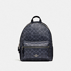 MEDIUM CHARLIE BACKPACK IN SIGNATURE CANVAS - DENIM/SILVER - COACH F66978