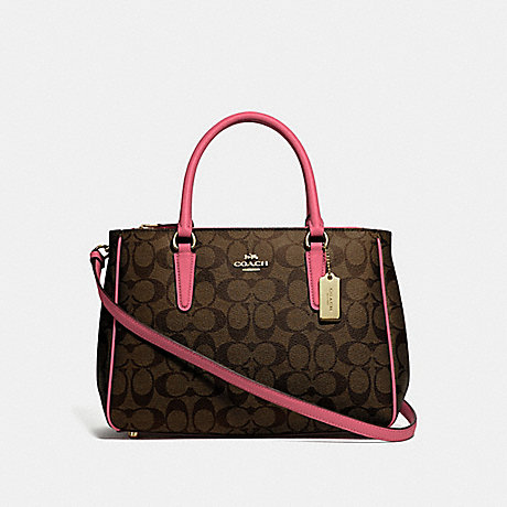 COACH SURREY CARRYALL IN SIGNATURE CANVAS - BROWN/STRAWBERRY/IMITATION GOLD - F67026