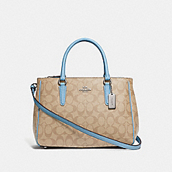 SURREY CARRYALL IN SIGNATURE CANVAS - LT KHAKI/CORNFLOWER/SILVER - COACH F67026