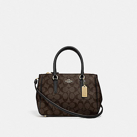 COACH MINI SURREY CARRYALL IN SIGNATURE CANVAS - BROWN/BLACK/IMITATION GOLD - F67027