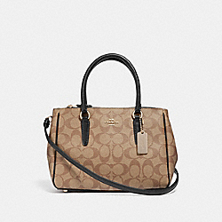 MINI SURREY CARRYALL IN SIGNATURE CANVAS - KHAKI/BLACK/IMITATION GOLD - COACH F67027