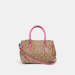 MINI SURREY CARRYALL IN SIGNATURE CANVAS - KHAKI/PINK RUBY/GOLD - COACH F67027