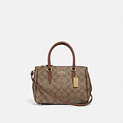 MINI SURREY CARRYALL IN SIGNATURE CANVAS - KHAKI/SADDLE 2/IMITATION GOLD - COACH F67027