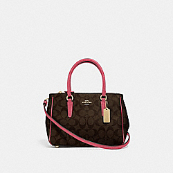 MINI SURREY CARRYALL IN SIGNATURE CANVAS - BROWN/STRAWBERRY/IMITATION GOLD - COACH F67027