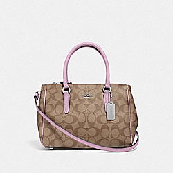 MINI SURREY CARRYALL IN SIGNATURE CANVAS - KHAKI/LILAC/SILVER - COACH F67027