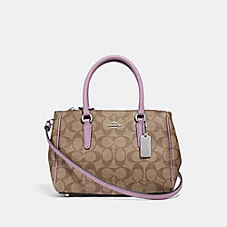 MINI SURREY CARRYALL IN SIGNATURE CANVAS - KHAKI/JASMINE/SILVER - COACH F67027
