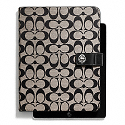 PARK SIGNATURE TURNLOCK IPAD CASE - SILVER/BLACK/WHITE/BLACK - COACH F67056