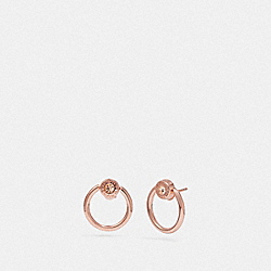 OPEN CIRCLE HALO STUD EARRINGS - ROSEGOLD - COACH F67073