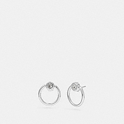OPEN CIRCLE HALO STUD EARRINGS - SILVER - COACH F67073