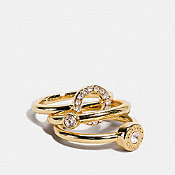 OPEN CIRCLE HALO RING SET - GOLD - COACH F67074
