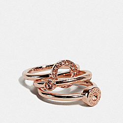 OPEN CIRCLE HALO RING SET - ROSEGOLD - COACH F67074