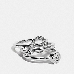 OPEN CIRCLE HALO RING SET - SILVER - COACH F67074