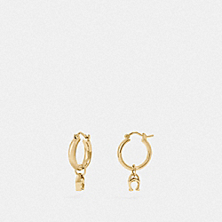 SIGNATURE HUGGIE EARRINGS - GOLD - COACH F67083