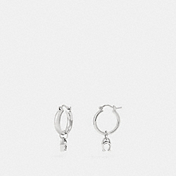 SIGNATURE HUGGIE EARRINGS - SILVER - COACH F67083