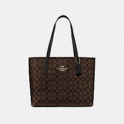AVENUE TOTE IN SIGNATURE CANVAS - BROWN/BLACK/IMITATION GOLD - COACH F67108