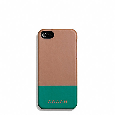COACH CAMDEN LEATHER STRIPED MOLDED IPHONE 5 CASE - SADDLE/EMERALD - f67116