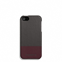 COACH CAMDEN LEATHER STRIPED MOLDED IPHONE 5 CASE - DARK GREY/DARK RED - F67116