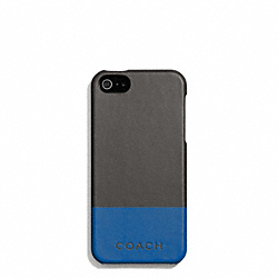 COACH CAMDEN LEATHER STRIPED MOLDED IPHONE 5 CASE - CHARCOAL/MARINE - F67116