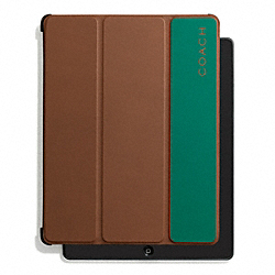 CAMDEN LEATHER STRIPED TRIFOLD CASE - SADDLE/EMERALD - COACH F67117