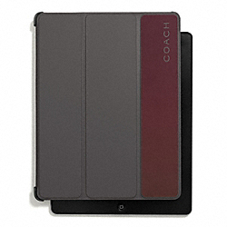 CAMDEN LEATHER STRIPED TRIFOLD CASE - DARK GREY/DARK RED - COACH F67117