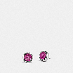 OPEN CIRCLE STUD EARRINGS - PURPLE/SILVER - COACH F67125