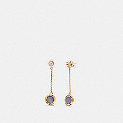 OPEN CIRCLE LONG DANGLE EARRINGS - PURPLE/GOLD - COACH F67128