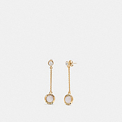 OPEN CIRCLE LONG DANGLE EARRINGS - WHITE/GOLD - COACH F67128