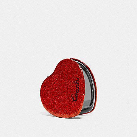 COACH GLITTER HEART MIRROR - RED - F67136
