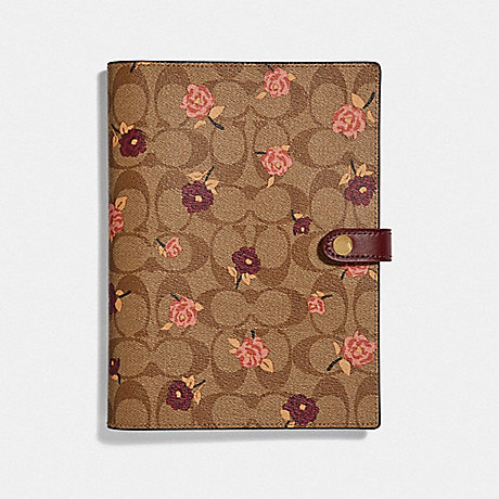 COACH NOTEBOOK IN SIGNATURE CANVAS WITH TOSSED PEONY PRINT - KHAKI/MULTICOLOR - F67141