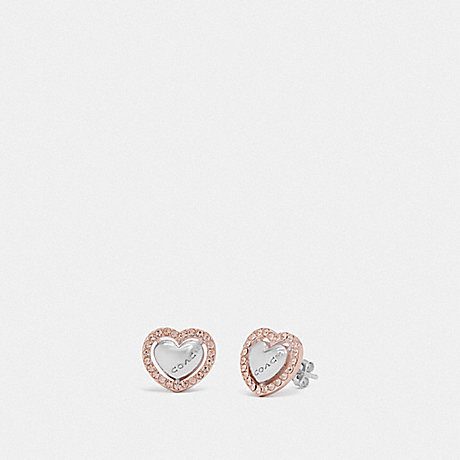 COACH PEARL HEART HALO STUD EARRINGS - ROSEGOLD/SILVER - F67147