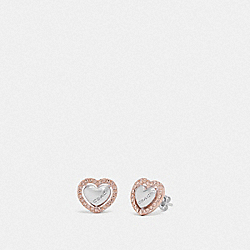 PEARL HEART HALO STUD EARRINGS - ROSEGOLD/SILVER - COACH F67147
