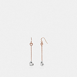 HALO HEART DROP EARRINGS - ROSEGOLD/SILVER - COACH F67152