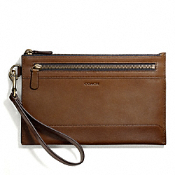 COACH BLEECKER DOUBLE ZIP TRAVEL POUCH IN LEATHER - FAWN - F67208